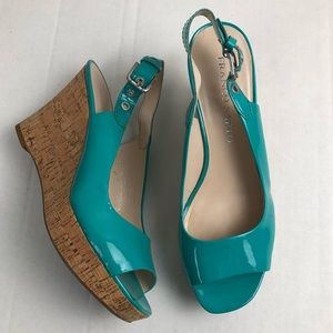 Franco Sarto teal patent leather cork wedges 8